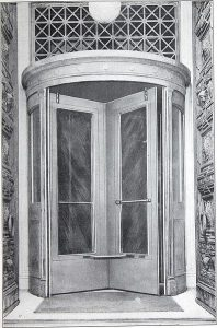 Abbildung einer der ersten Drehtüren, von 1910, manuell betrieben