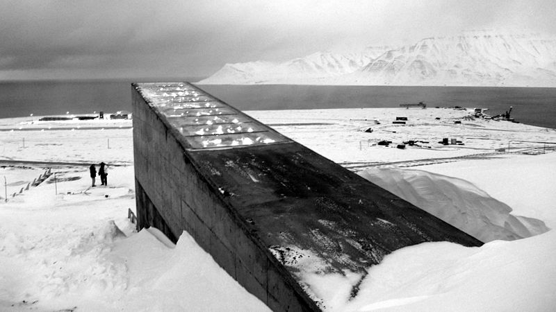 Eingang zur pflanzensamenbank auf Svalbard
